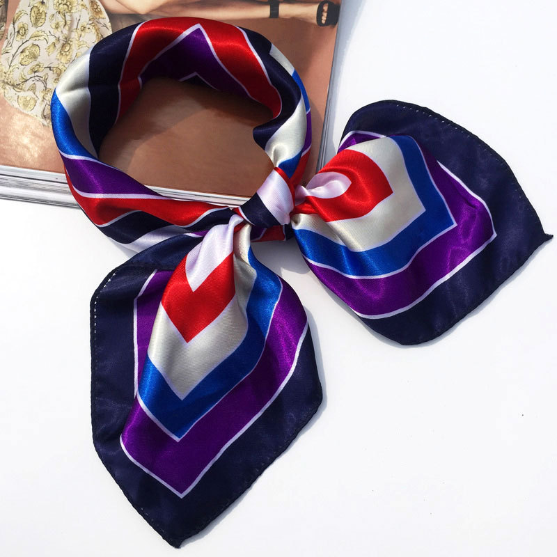 New 50*50 Elegant Spring Printed Silk Scarf Women Ladies Scarves Multifunction Hair Tie Headwear Luxury Design Retro Neckercief