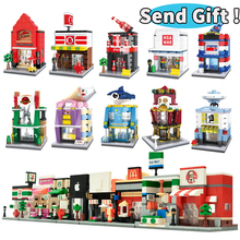 City Mini Street Building Blocks 3D Model Shop Retail Store Brick Figure Educational Toys For kids Compatible With legoingly hsanhe new street store plastic building blocks mini shop architecture dinosaur museum educational brinquedos for kids xmas gift