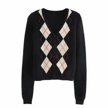 К 2020 году новые ретро длинный вязаный кардиган женщин свитер женщин куртка клетчатый однобортный свитер женщин bm6067