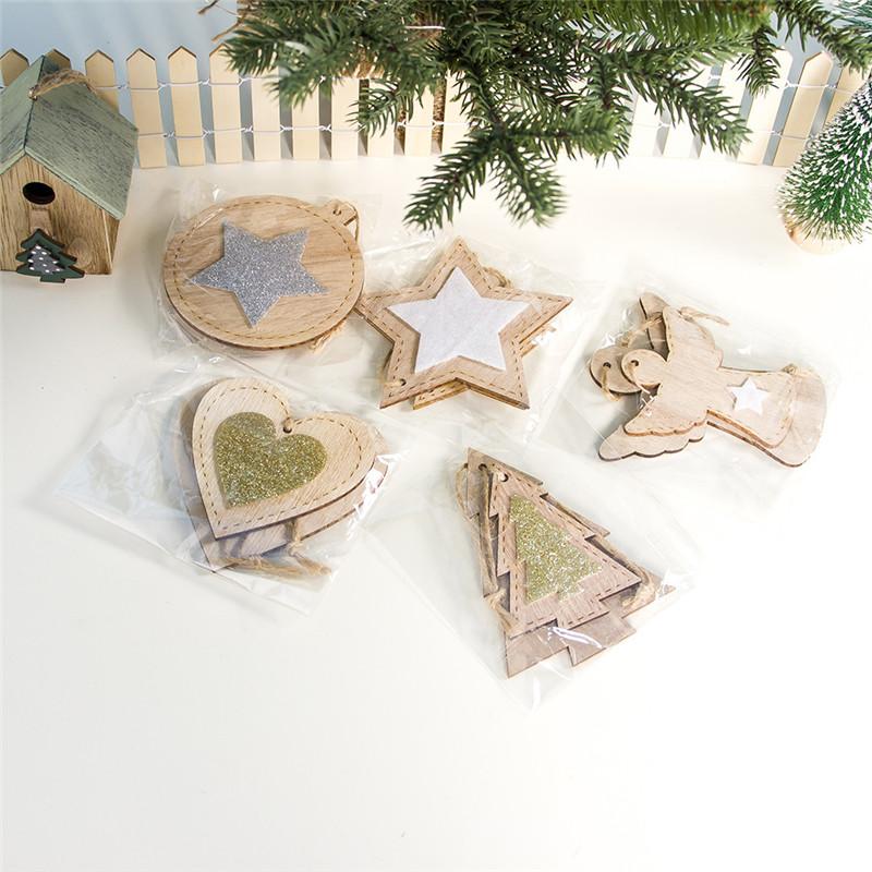 2pcs New Year 2020 Gift Natural Wooden Christmas Tree Pendants Christmas Ornaments Decorations for Home Adornos De Navidad 2019 24