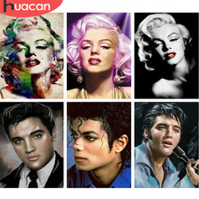 HUACAN Marilyn Monroe Elvis 5D DIY Diamond Painting Michael Jackson Full Drill Square Embroidery Picture Of Rhinestone