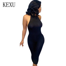 KEXU Rompers Womens Jumpsuits Sexy Strapless Backless Slim Short Bodycon Bodysuits Elegant Sleeveless Summer Nightclub Overalls