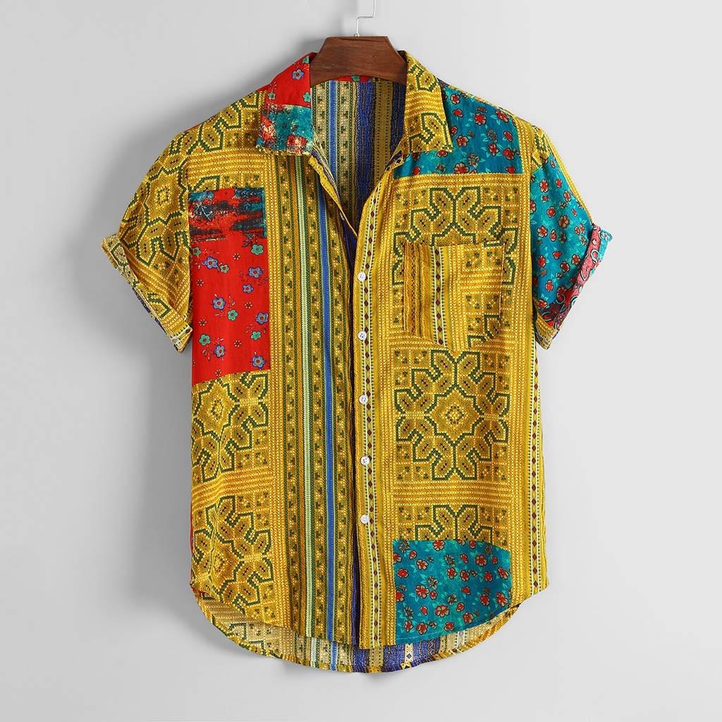 Hawaiian Shirt Vintage Ethnic Print Turndown Collar Mens Beach Shirt Short Sleeve Africa Summer Loose Casual Men Shirt New 2020