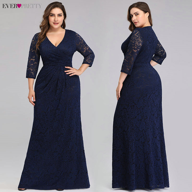 Plus Size Lace Mermaid Long   Prom     Dresses   2020 Ever Pretty EZ07682NB V-Neck 3/4 Sleeve Elegant Women Party Gowns Vestidos De Gala