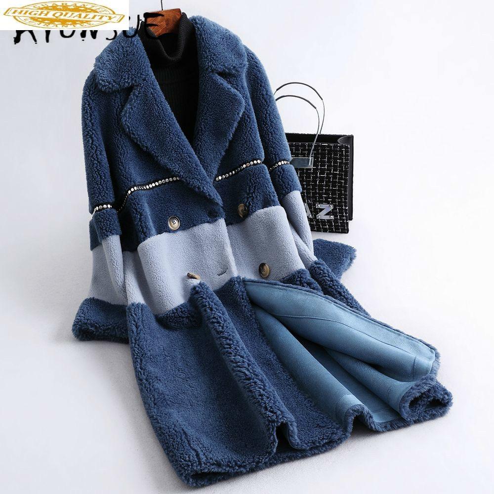Real Fur Coat Autumn Winter Coat Women Clothes 2019 Korean Wool Jacket Sheep Shearing Real Fur Jacket Warm Coat PC16 YY1844