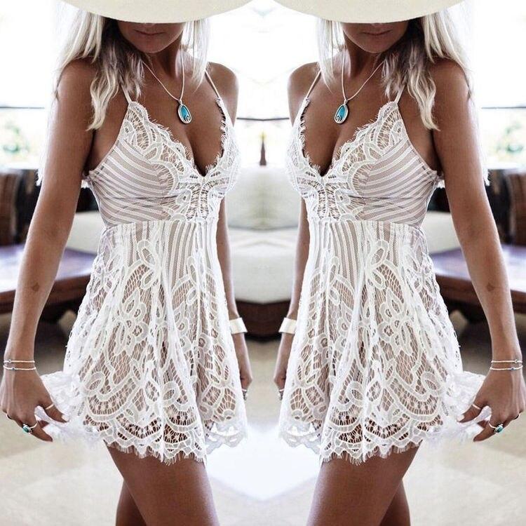 Hbdaee79b6e4c4d2394cf7c20f36f6a88K Fashion Bodycon Lace Dress Ladies Elegant Casual Sexy Deep V-Nech Mini White Beach Dresses Womens Plus Size