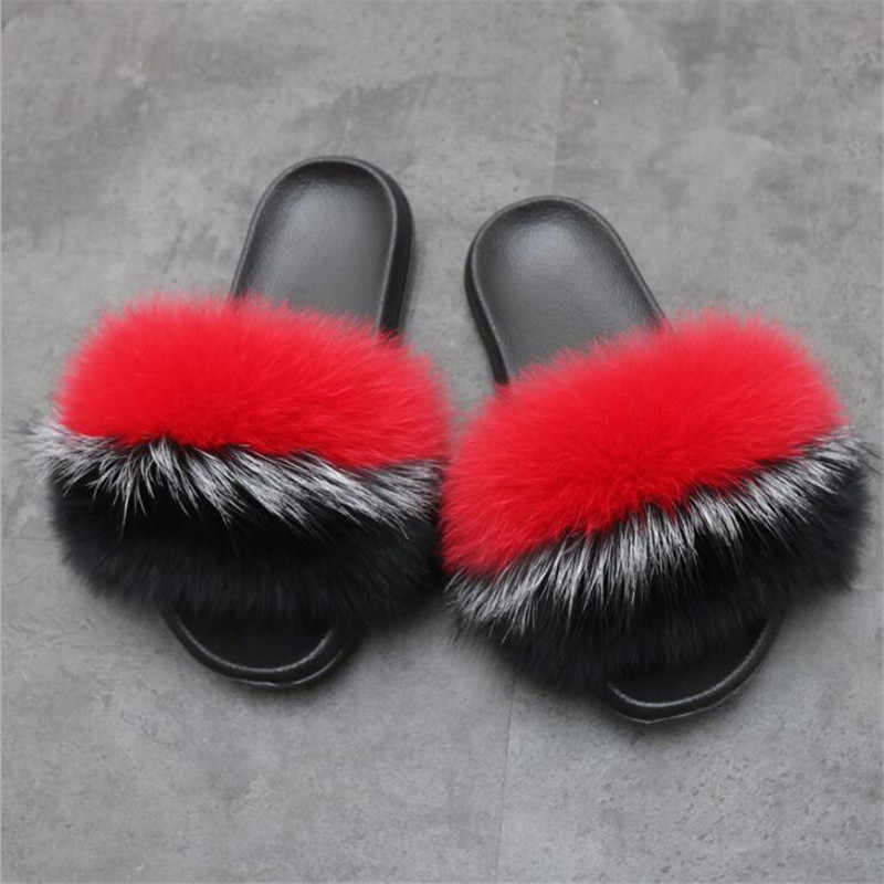 Women Fluffy Slippers Women Brand Fashion Fox Fur Slides Non-slip Real Fur Slippers Cute Plush Women Fur Slippers Furry Slippers