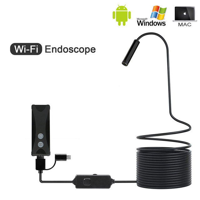 8 ミリメートル 1/2/3/5 メートル無線 lan 内視鏡ミニカメラソフトケーブル usb 内視鏡ボアスコープのためのアンドロイド/iphone と pc