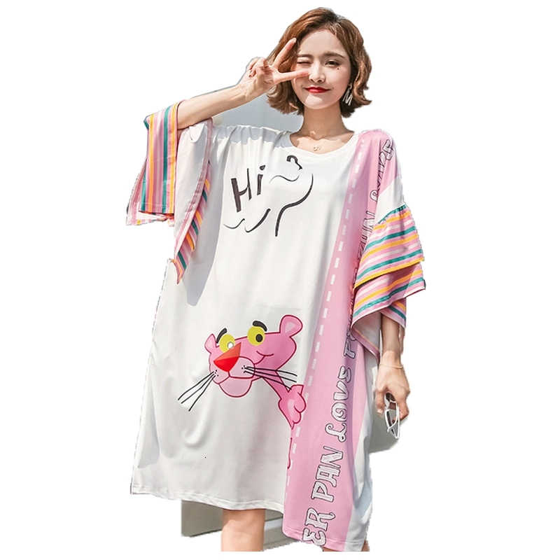 QING MO 2019 Women Pink Panther T Shirt Dress Women White Flare Sleeve Dress Women Letter Print Dress Oversize ZQY743