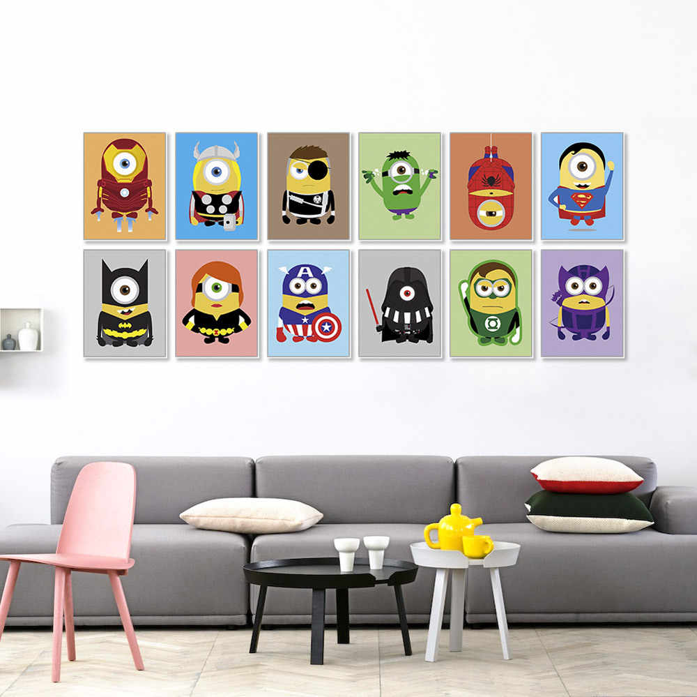 Nordic Modern Creative Superhero Marvel Heroes Minion Thor Batman Hanging Poster Children's Room Decorative Canvas Painting Art