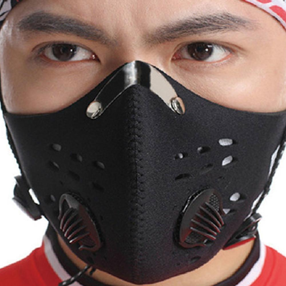 Black Antiviral Sport Face Mask With Filter Activated Carbon PM 2.5 Anti-Pollution Running Cycling Mask Hot Sale Face Mask