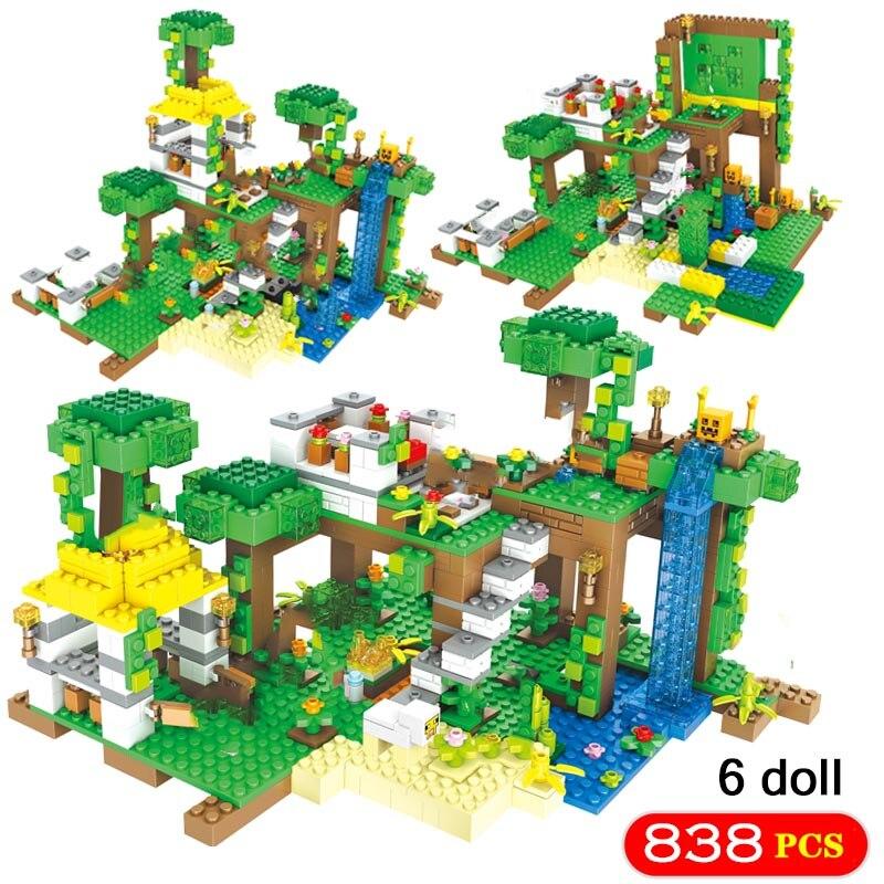 Mon Monde 804 pièces Jungle Base Cabine Modèle Blocs De Construction Compatibles avec Legoinglys Minecrafted Maison Briques Jouet Pour Enfants