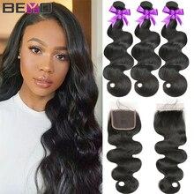 גוף גל חבילות עם סגירה ברזילאי שיער Weave חבילות עם סגר ללא רמי שיער טבעי חבילות עם סגירת Beyo שיער 4pcs