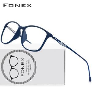 Image 1 - FONEX TR90 Alloy Optical Glasses Frame Men Full Rim Square Myopia Eye Glass for Men Prescription Eyeglasses Screwless Eyewear