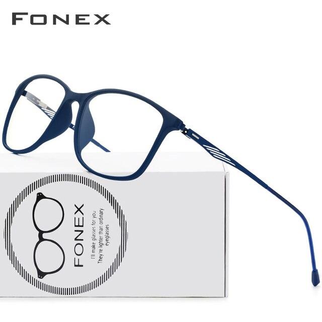 FONEX TR90 Alloy Optical Glasses Frame Men Full Rim Square Myopia Eye Glass for Men Prescription Eyeglasses Screwless Eyewear