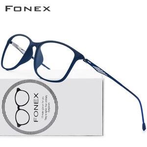 Image 1 - FONEX TR90 Lega di Ottica di Vetro del Telaio Uomini Cerchio Pieno Quadrati Miopia Occhio di Vetro per Gli Uomini Occhiali Da Vista Occhiali Senza Viti