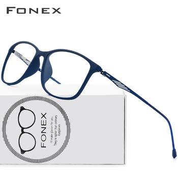 FONEX TR90 aluminiowe okulary optyczne rama mężczyźni pełna obręczy plac krótkowzroczność oko szkło dla mężczyzn okulary korekcyjne bezśrubowe okulary tanie i dobre opinie Plastikowe tytanu Stałe 9854 Male Ultra Light Weight Ultralight High Quality FRAMES Okulary akcesoria