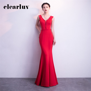 Red Robe De Soiree Long Elegant Sleeveless Evening Dresses Plus Size Formal Dress DX369-3 2020 Sexy Slim Backless Evening Gowns
