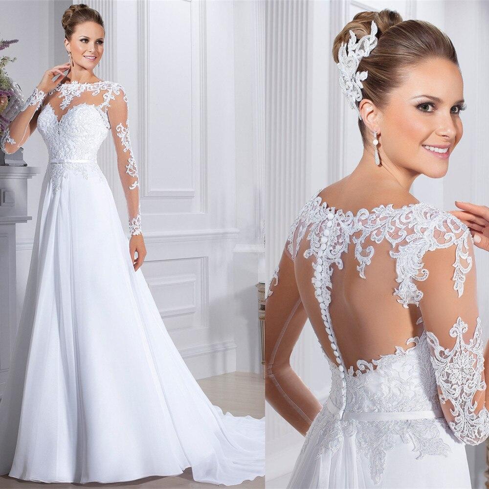 Free Shipping A-line Romantic Lace Long Sleeve Brides Bridal Gown Vestido De Noiva Manga Longo 2018 Mother Of The Bride Dresses