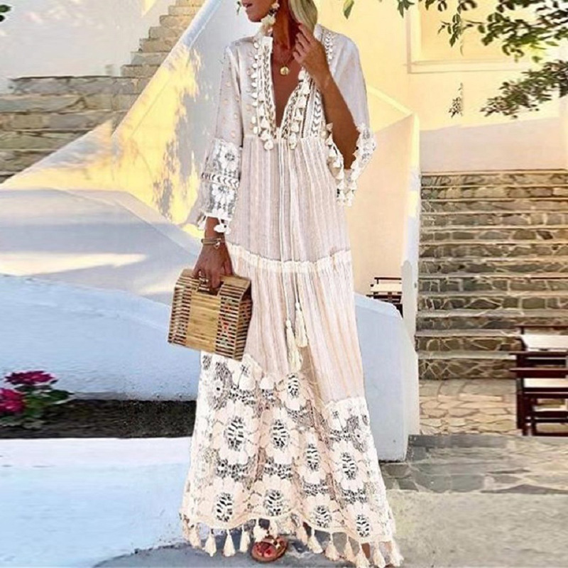 Women Sexy Deep V-Neck Lace Patchwork Party Long Dress Summer Fashion Vintage Tassel Design A-Line Dress Female Casual Dress 4XL 10