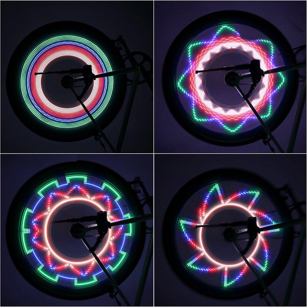 Cool 2 Side 32 LED 32 Mode Night Waterproof Wheel Signal Lamp Reflective Rim Rainbow Tire Bikes Bicycle Fixed Spoke Warn Light