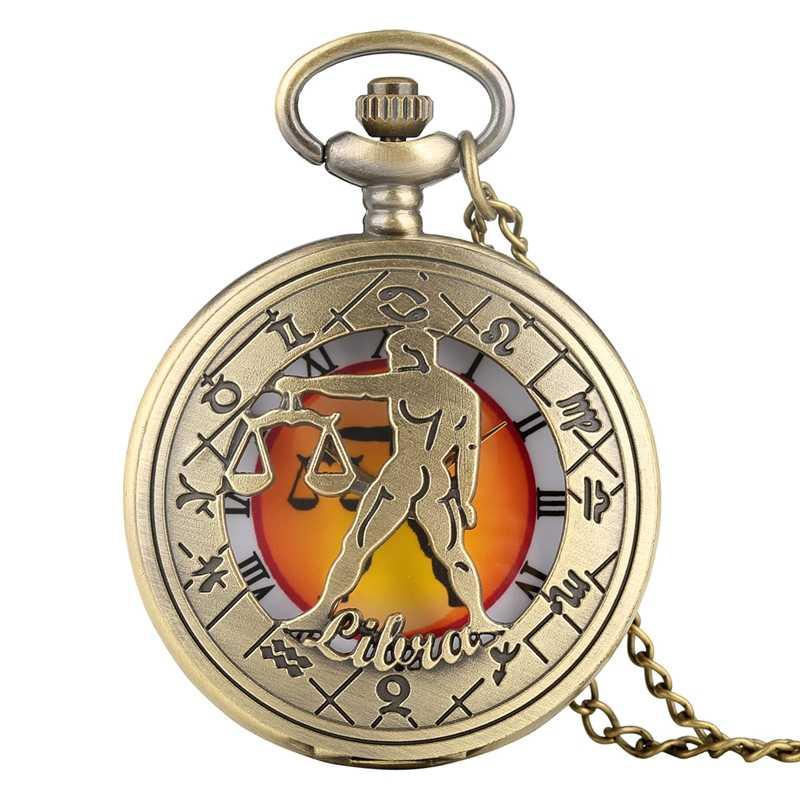 רטרו מזלות דפוס שעון כיס מודרני שרשרת שרשרת נחושת שנים עשר כוכבים תליון יום הולדת שעון מתנות לגברים נשים