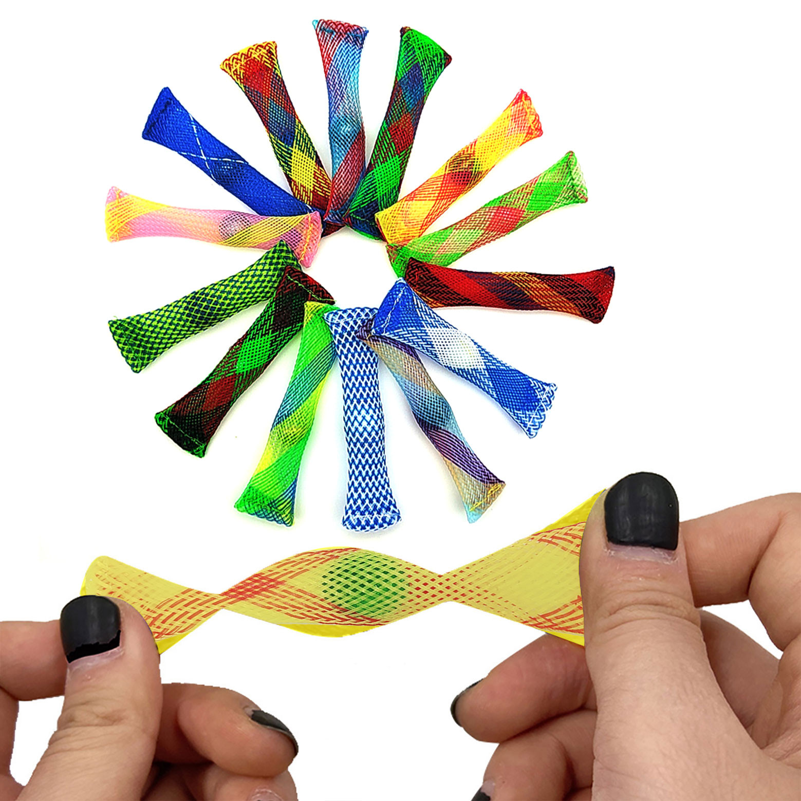 Fidgets Toy Net-Tube Glass-Ball Marble Mesh Decompression Hand-Sensory Anti-Stress Relief