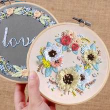 1PC DIY Ribbon Flowers Handmade Embroidery Sampler Kit For Beginner Needlework Kits Cross Stitch Arts Crafts Sewing Decor