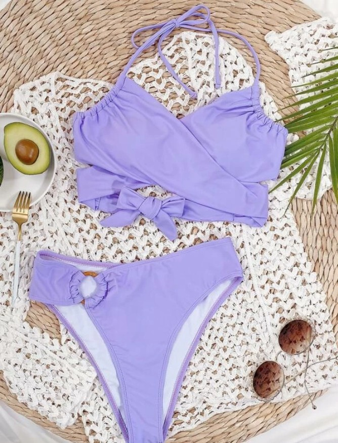 Women Female Two-Piece Swimsuits Womens Solid Color Bikini Top+ High Waist Panties Purple S/M/L 5