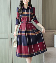 2019 autumn dress new Korean temperament slim dress Professional slim long-sleeved plaid shirt bottom dress women's dress(China)