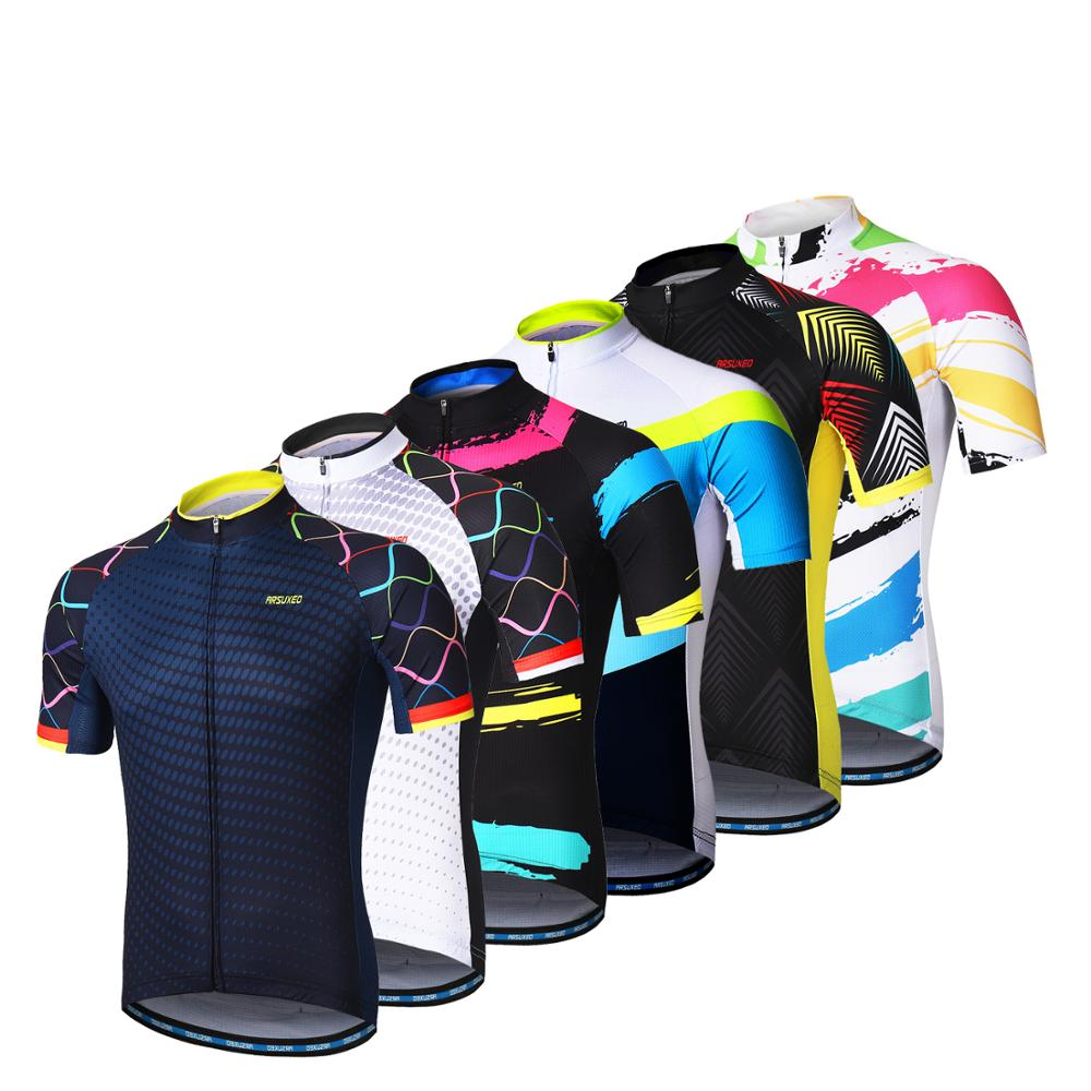 Купить с кэшбэком ARSUXEO Men Short Sleeves Cycling Jersey Quick Dry MTB Jersey Mountain Bicycle Shirts Road Bike Clothing Reflective Zipper Z84
