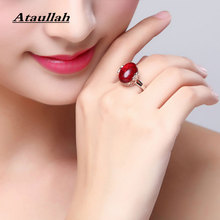 Ataullah Red Corundum Ruby Emerald Sapphire Agate Rings Silver 925 Jewelry Women Luxury Gemstone Diamond Adjustable Ring RWD833