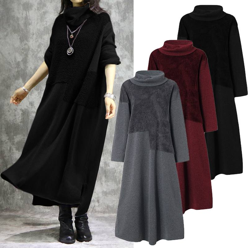 Vintage Turtleneck Sweatshirts Dress ZANZEA Casual Hoodies Pullovers Women's Spring Sundress Female Pacthwork Vestidos Oversized