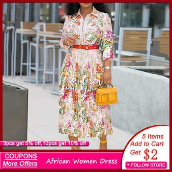 Élégant bureau dame vêtements de travail grande taille robes mi-longues Robe une ligne Femme Vestiods 2019 Robe plissée florale femmes africaines automne