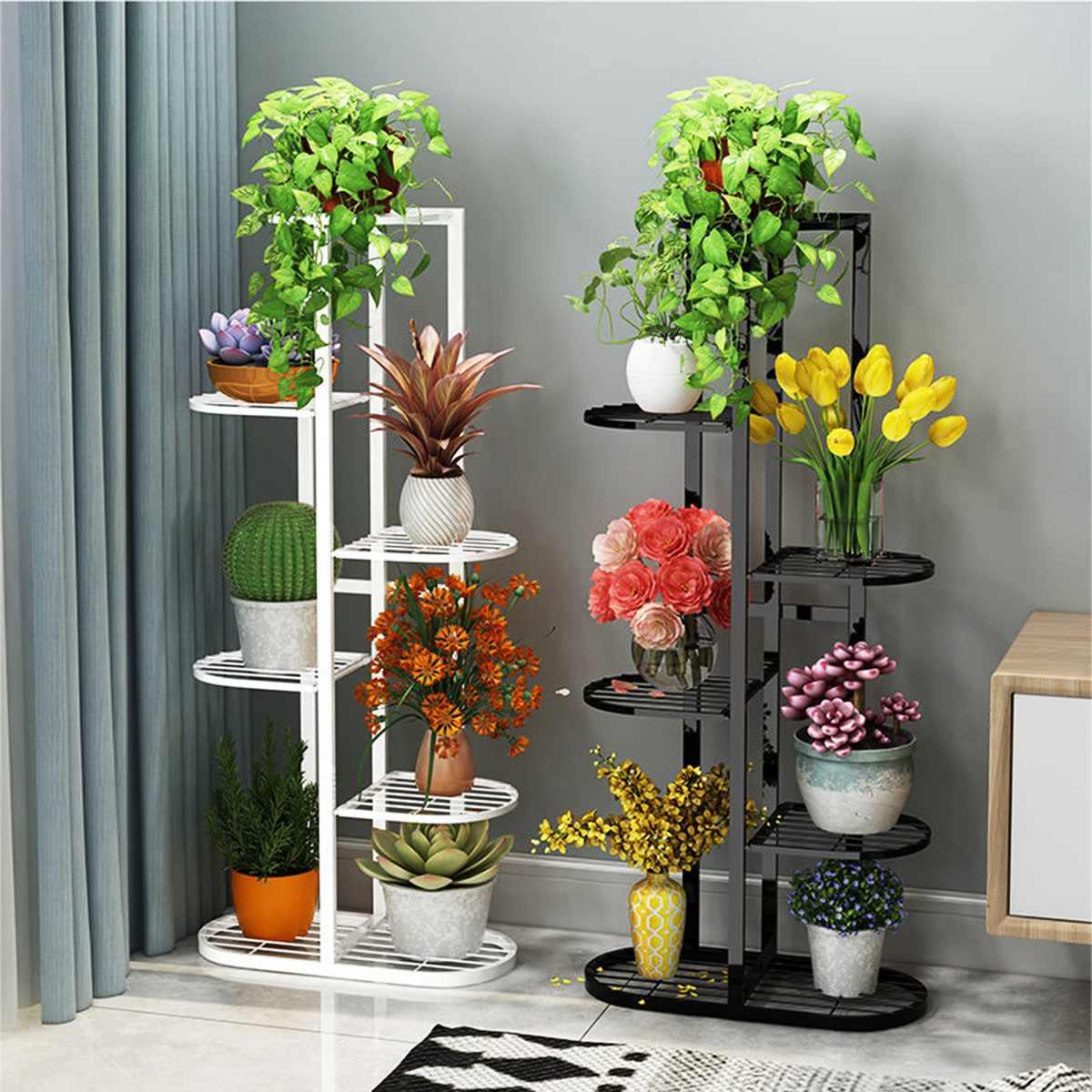 1 adet bitki raflar demir saksı çiçek bitki standı raf çoklu saksı tutucu raf kapalı açık ekici ekran organizatör