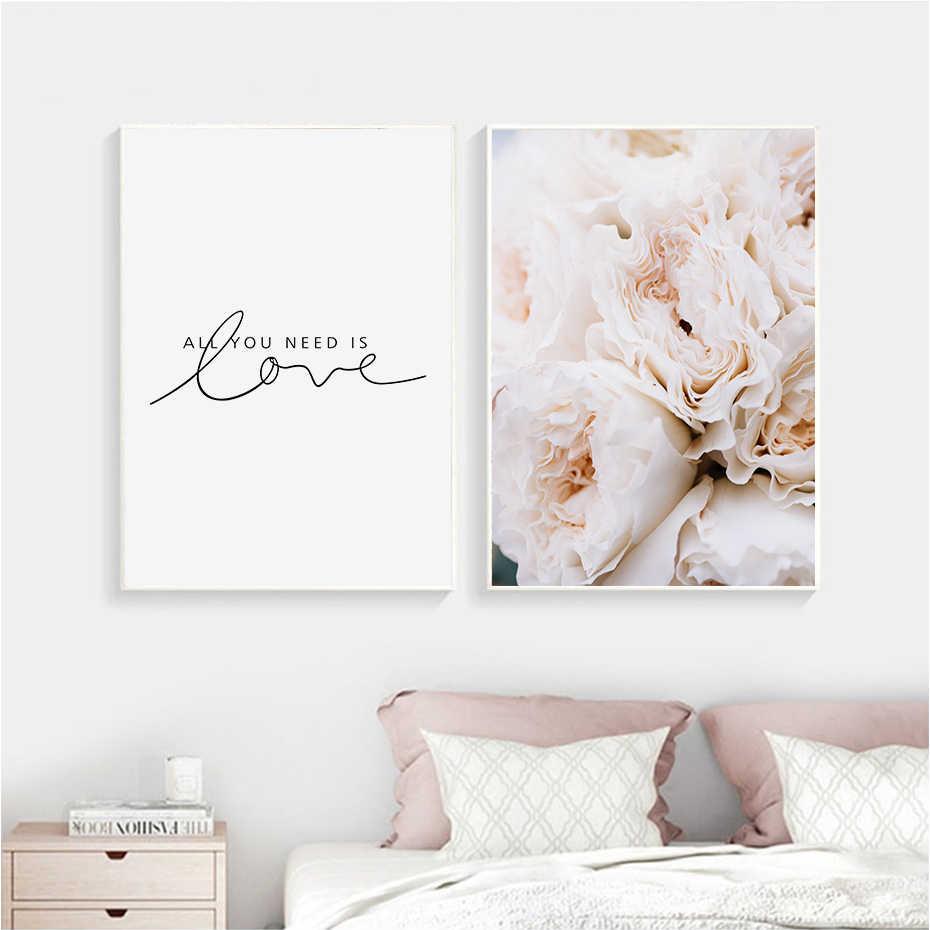 Modern Pink Peony Flower Minimalist Love Letter Canvas ...