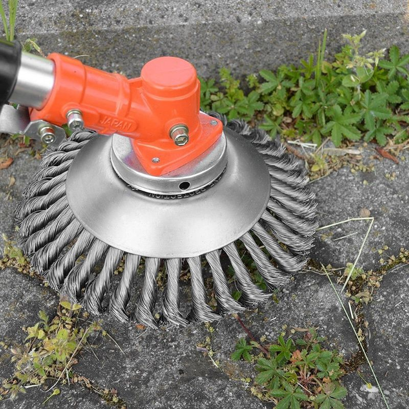 Hot 6/8 Inch Steel Trimmer Head Garden Weed Steel Wire Brush Break-proof Rounded Edge Weed Trimmer Head For Power Lawn Mower