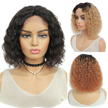 Short Bob Kinky Curly Wigs Brazilian Natural Human Hair For Black Women Middle Part Lace Closure Wig Ombre IJOY - discount item  47% OFF Human Wigs( For Black)