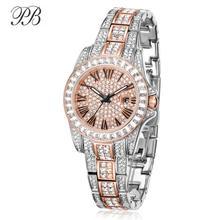 Принцесса бабочка женщина смотрит 2017 бренд класса люкс Кристалл часы металл браслет розовое золото бриллиант кварц платье наручные часы HL584
