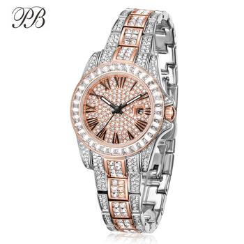 PB Watch Women Inlaid Zircon Crystal Full Rose Gold Watches Women Silver Waterproof Quartz Luxury Brand Relogio Feminino