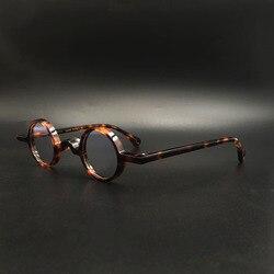 Handgemachte Acetat Brillen Rahmen Kleine Runde Brillen Brille Dunkel Leopard Retro, kleine box myopie optische gläser
