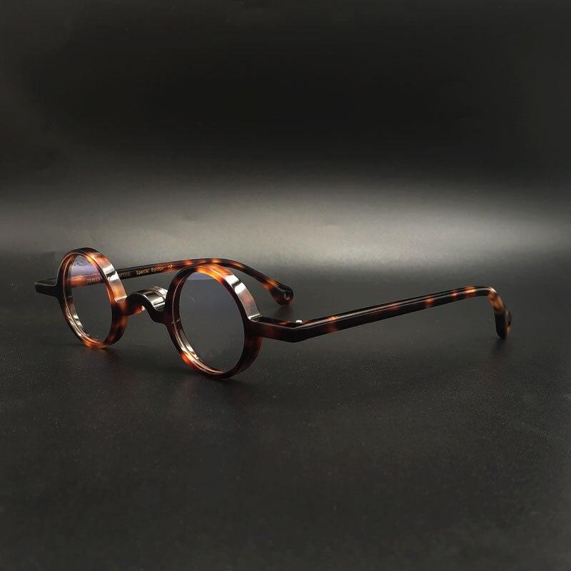 Handmade Acetate Eyeglass Frames Small Round Eyewear Glasses Dark Leopard Retro,small Box Myopia Optical Glasses