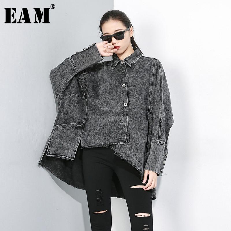 [EAM] Loose Fit Spliced Oversize Denim Pocket Jacket New Lapel Long Sleeve Women Coat Fashion Tide Autumn Winter 2019 1D091