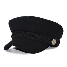 Зимняя женская шапка унисекс в Военном Стиле во французском стиле, Шерстяная кепка Baker's Boy, Кепка с плоским верхом для путешествий, Кепка для курсантов, бейсболки, черный с козырьком, шапка