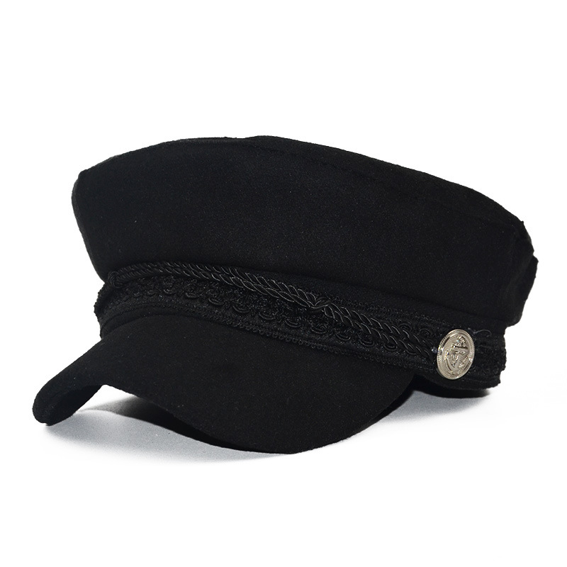 Unisex Winter Military Hat Women French Style Wool Baker's Boy Hat Cap Flat Top Travel Cadet Hat Baseball Hats Black Visor Hat