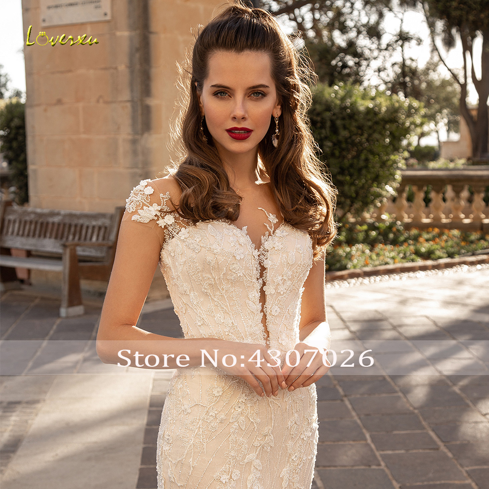 Image 3 - Loverxu Scoop Sequined Mermaid Wedding Dresses Elegant Applique Beading Cap Sleeve Bride Dress Court Train Bridal Gown Plus Size-in Wedding Dresses from Weddings & Events