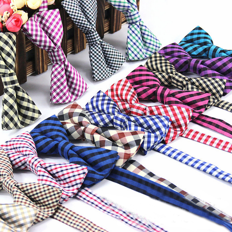 MB02 Mens Cotton Bow Ties Adjustable Man Bows Tie Butterflies Plaid Stripes Print Tuxedo Party Wedding Butterfly Accessorie