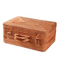 100% handmade Vietnam Rattan Rectangle decorative luggage boxes Bins Bincosmetic make up organizer jewelry storage box rangement