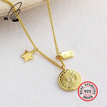 Necklaces Pendants 925 Sterling Silver Stars Disk Gold Chain necklace Gothic Collares Largos For Women Bizuteria Damska jewelry