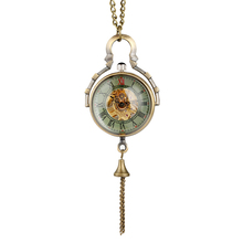 Vintage Clock Quartz Ball Glass Pocket Watch Steampunk Men Hollow-out Hand-winding Mechanical Pendant Necklace Women Gift